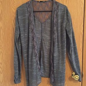 Maurice's Open cardigan with lace